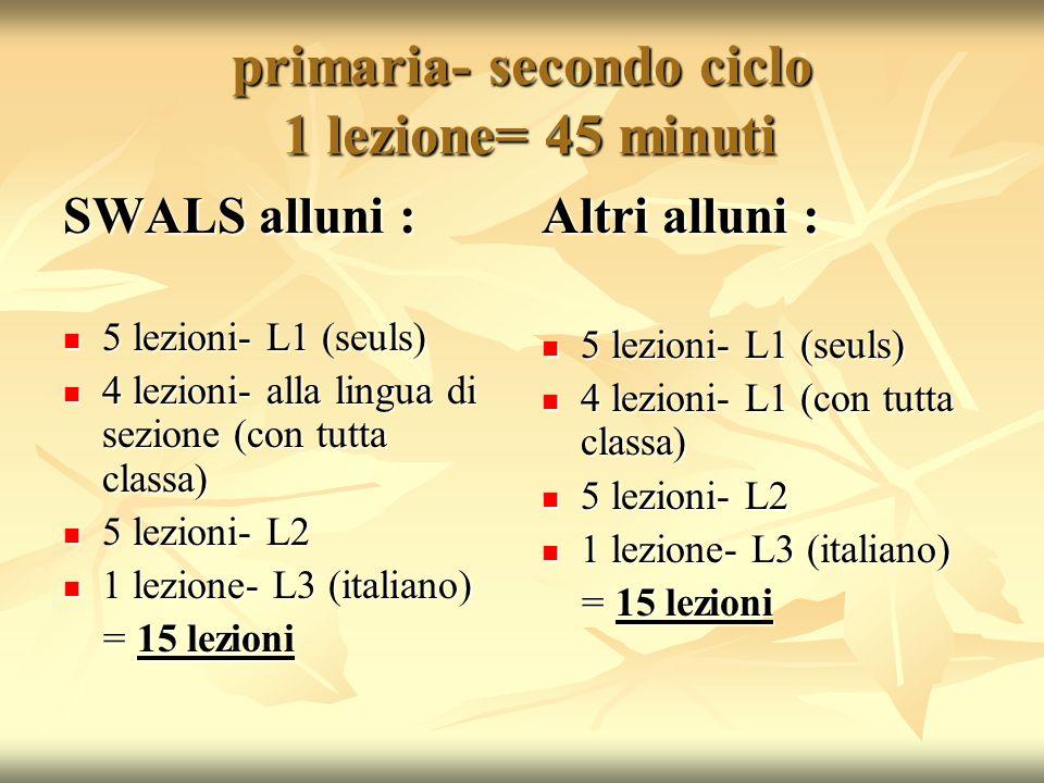 primaria- secondo ciclo 1 lezione= 45 minuti