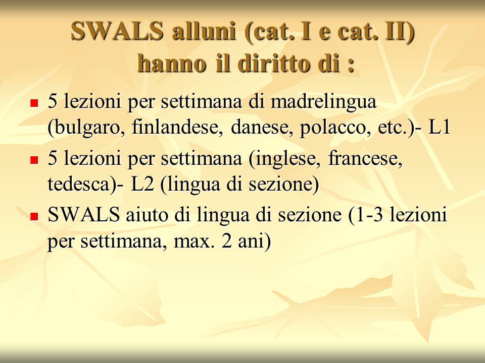 SWALS alluni (cat. I e cat. II) hanno il diritto di :