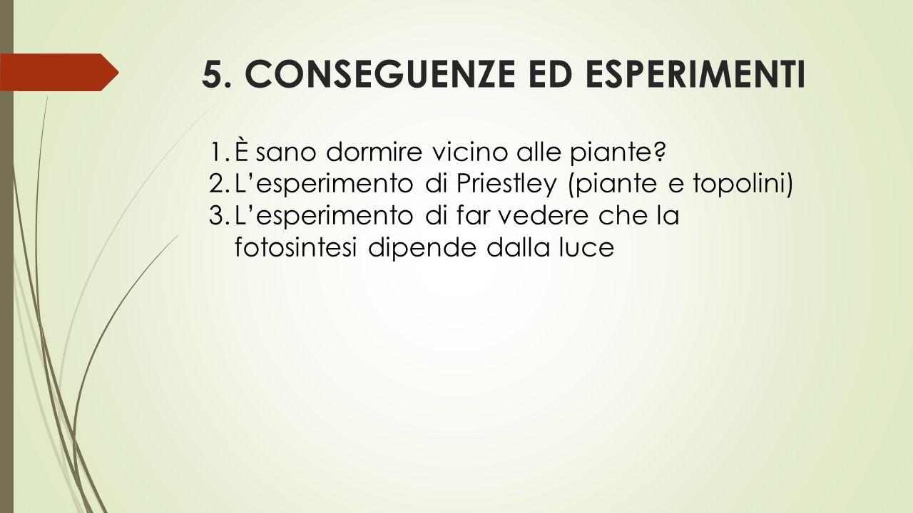 5. CONSEGUENZE ED ESPERIMENTI