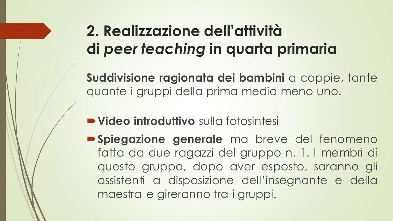 2. Realizzazione dell'attività di peer teaching in quarta primaria