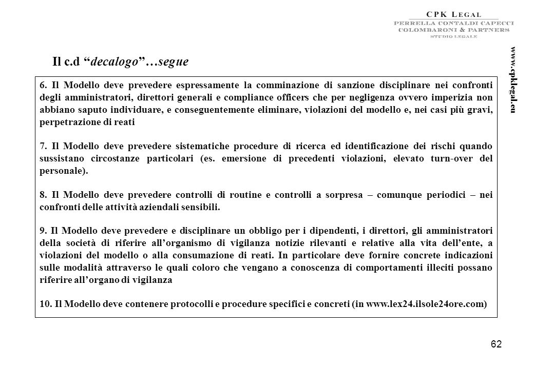 www.cpklegal.eu Il c.d decalogo …segue