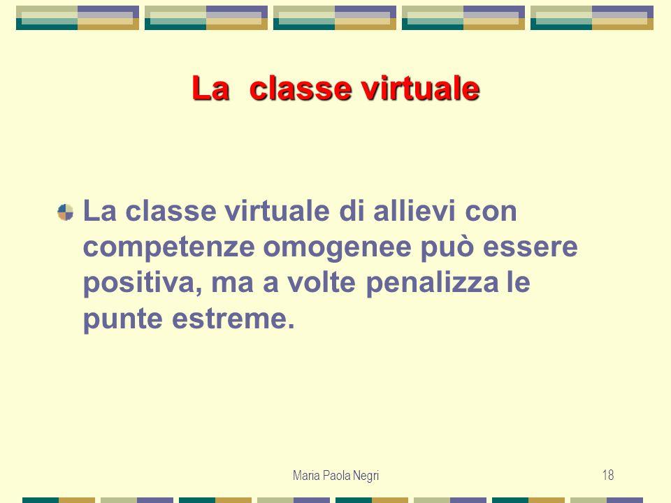 La classe virtuale La classe virtuale di allievi con competenze omogenee può essere positiva, ma a volte penalizza le punte estreme.