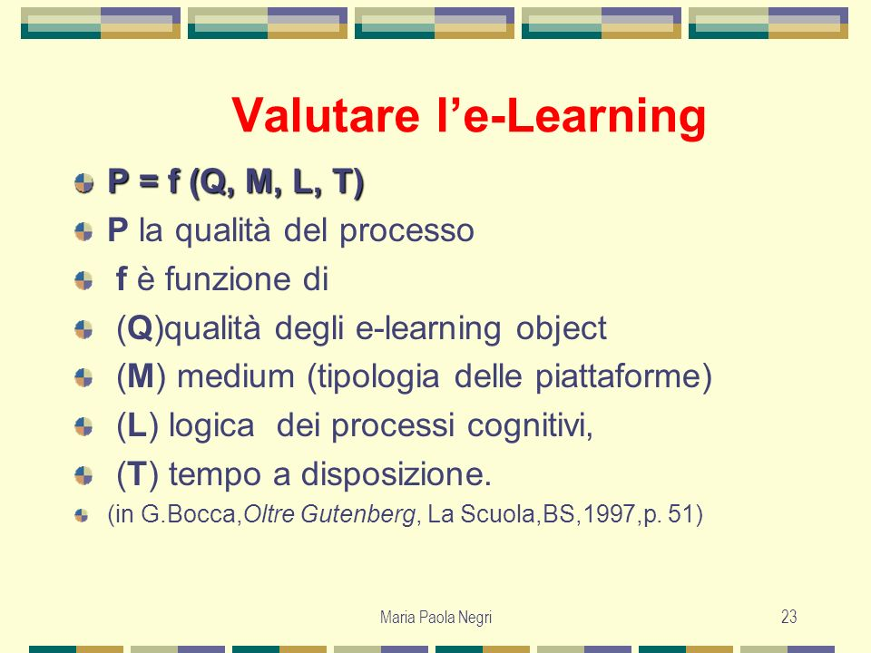 Valutare l'e-Learning