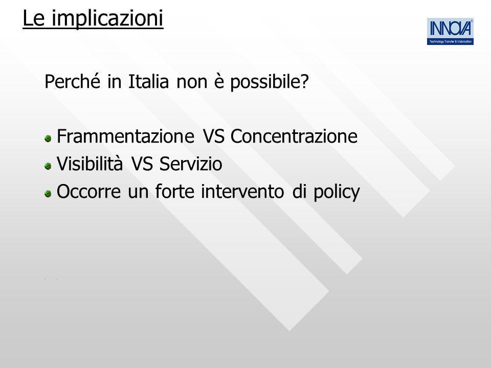 Le implicazioni Perché in Italia non è possibile