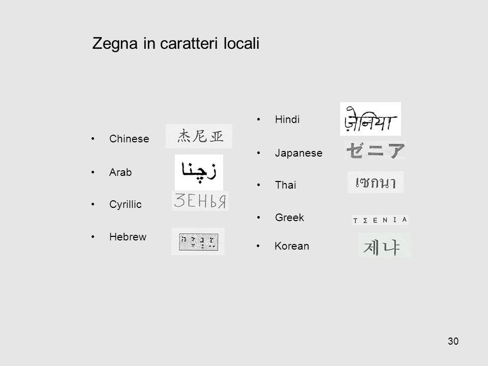 Zegna in caratteri locali