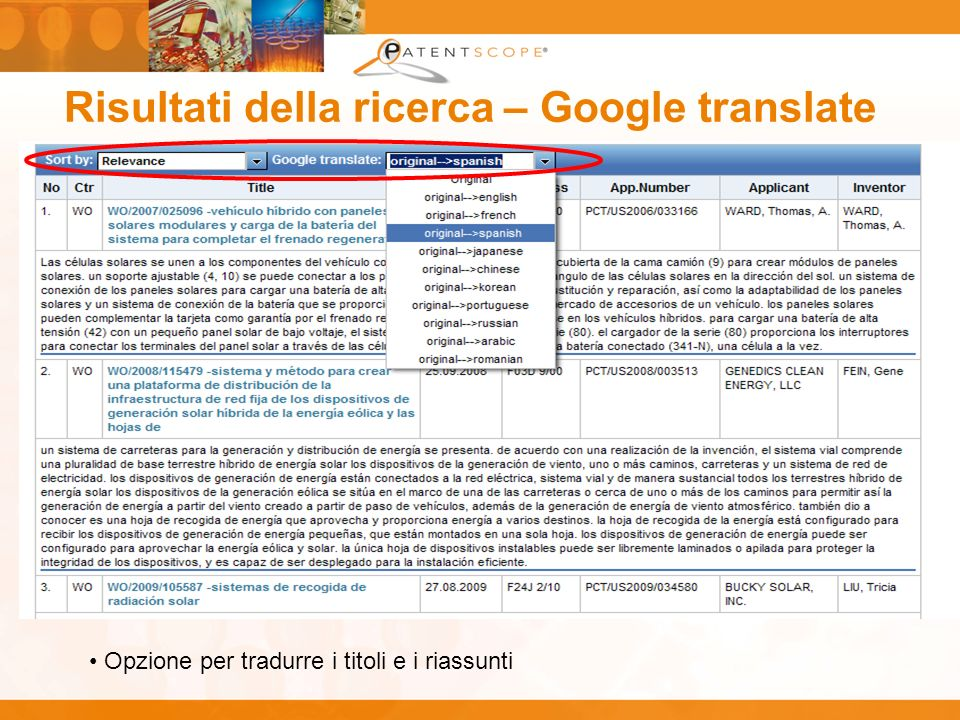 Risultati della ricerca – Google translate