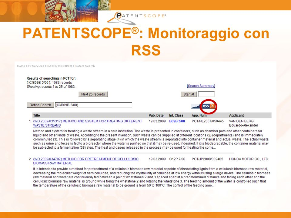 PATENTSCOPE®: Monitoraggio con RSS