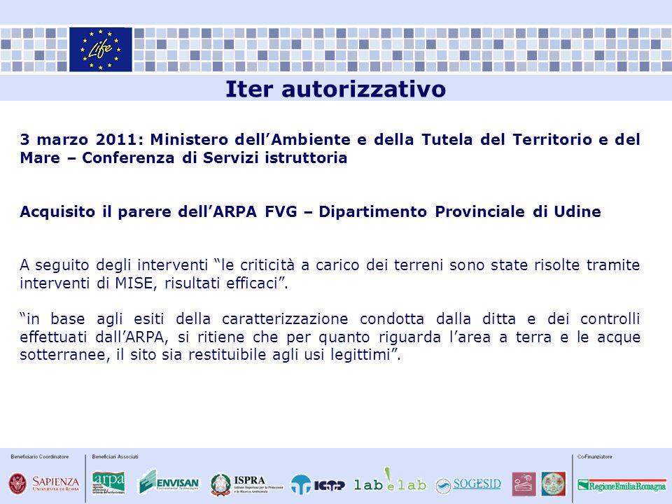 Iter autorizzativo 3 marzo 2011: Ministero dell'Ambiente e della Tutela del Territorio e del Mare – Conferenza di Servizi istruttoria.