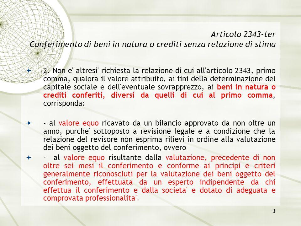Articolo 2343-ter Conferimento di beni in natura o crediti senza relazione di stima