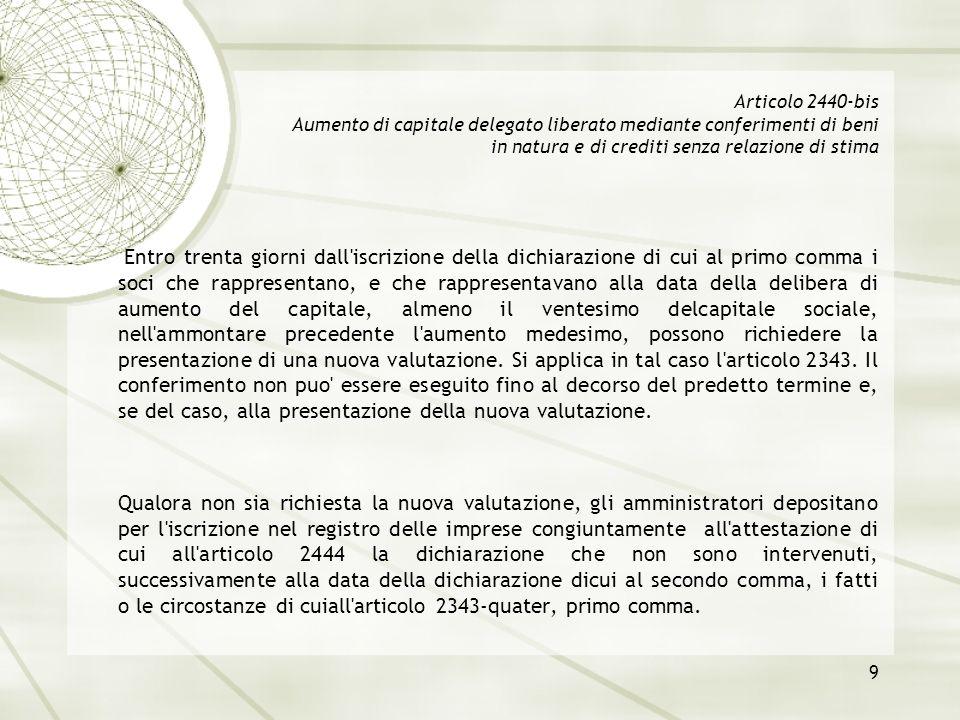 Articolo 2440-bis Aumento di capitale delegato liberato mediante conferimenti di beni in natura e di crediti senza relazione di stima