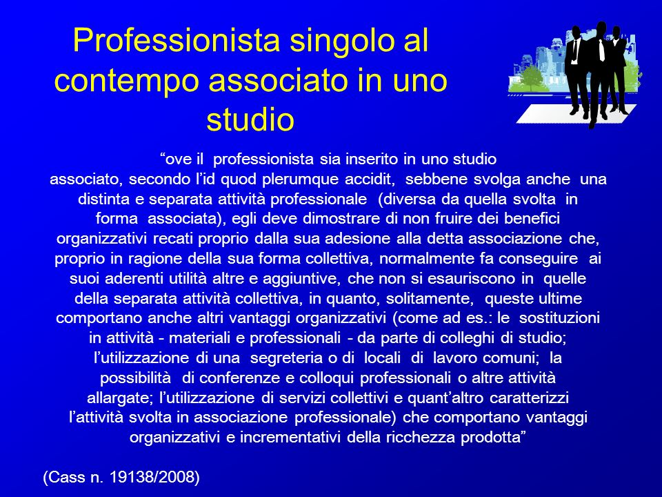 Professionista singolo al contempo associato in uno studio