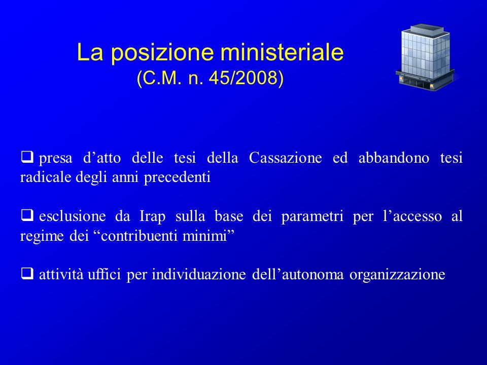 La posizione ministeriale (C.M. n. 45/2008)