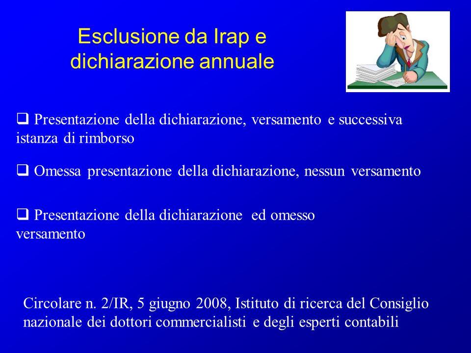 Esclusione da Irap e dichiarazione annuale