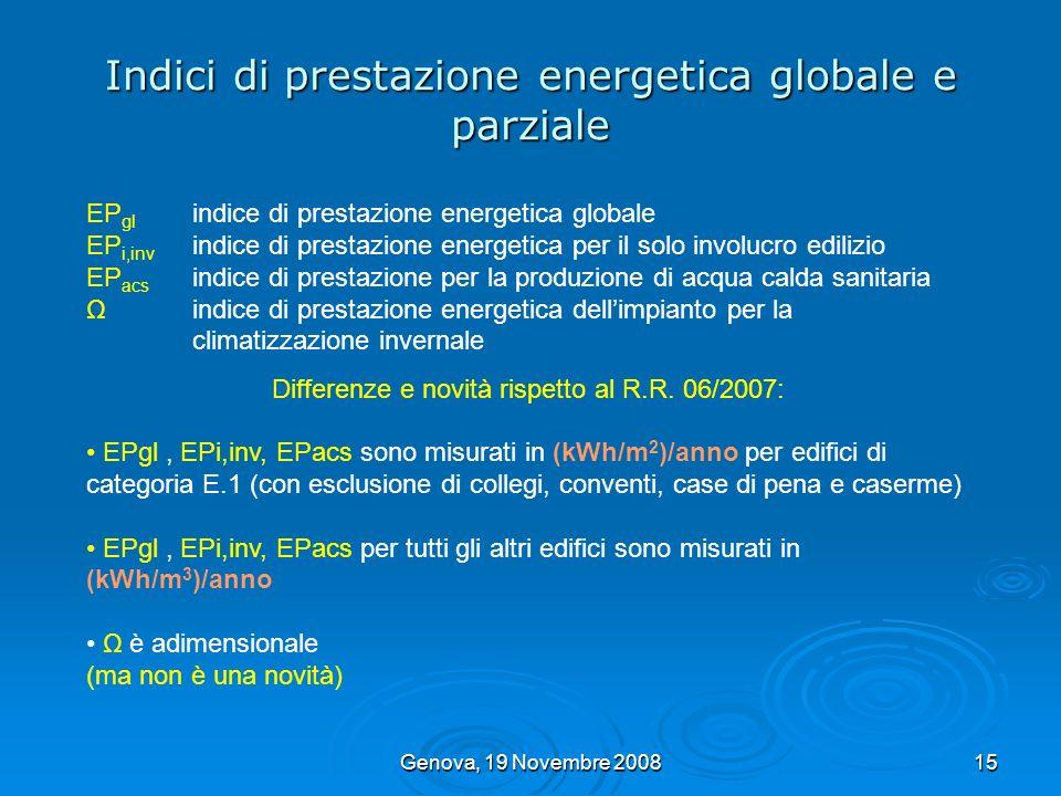 Indici di prestazione energetica globale e parziale