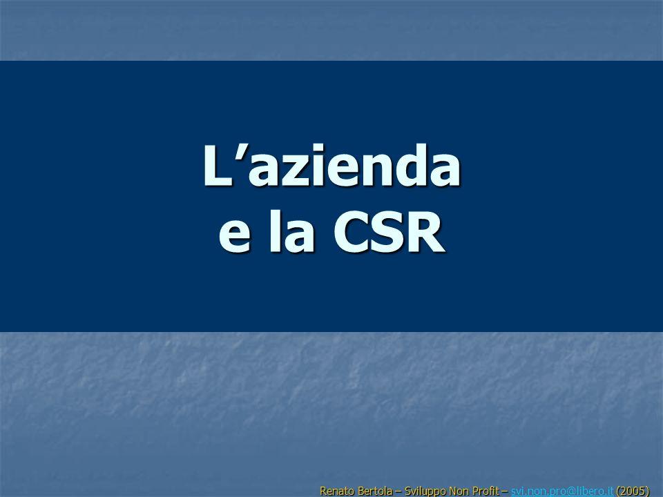 L'azienda e la CSR Renato Bertola – Sviluppo Non Profit – svi.non.pro@libero.it (2005)