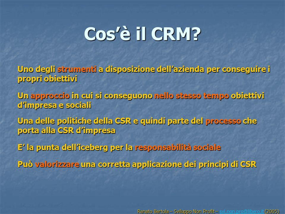 Cos'è il CRM Uno degli strumenti a disposizione dell'azienda per conseguire i propri obiettivi.