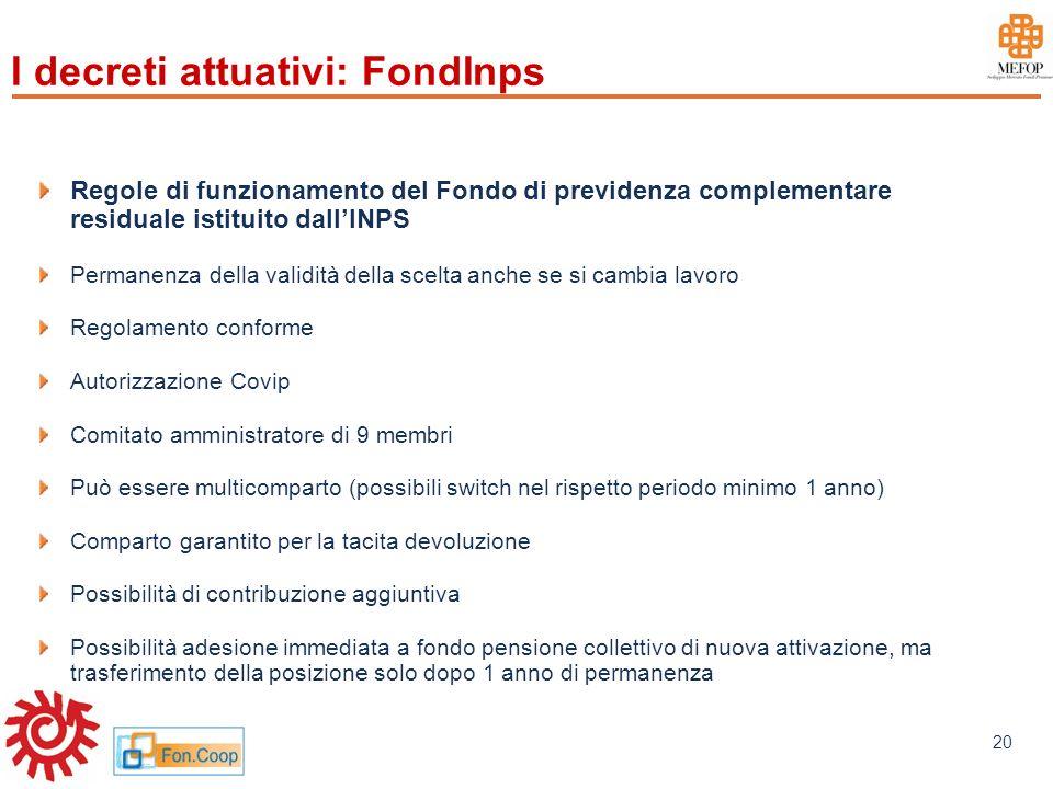 I decreti attuativi: FondInps