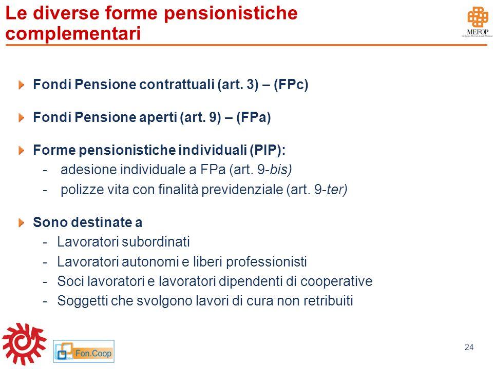 Le diverse forme pensionistiche complementari