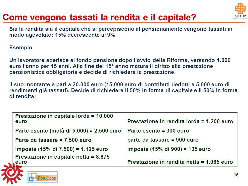 Come vengono tassati la rendita e il capitale