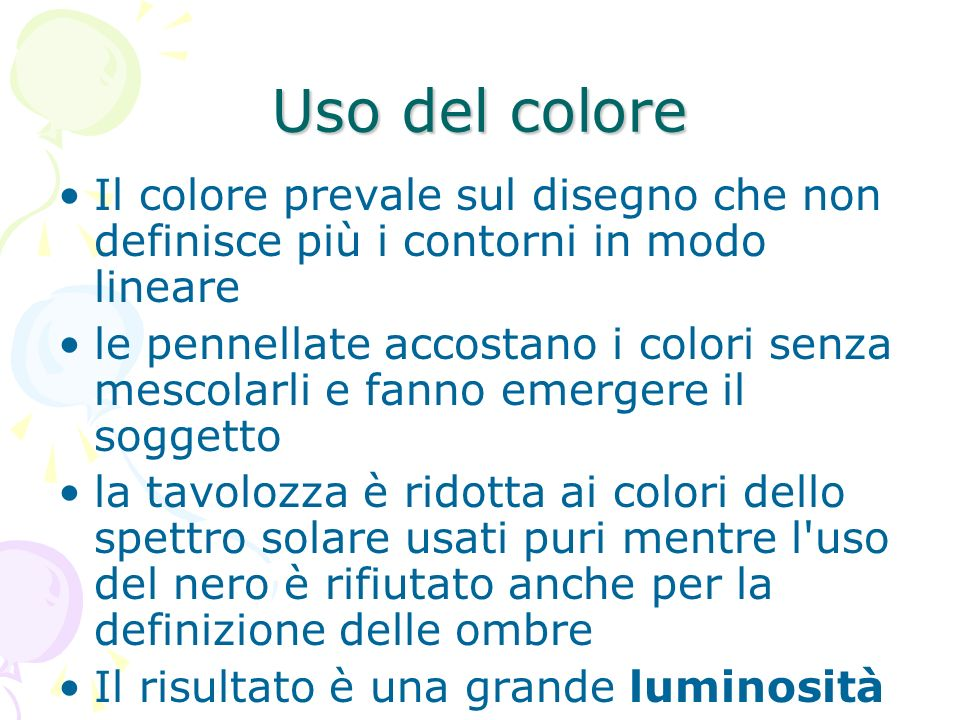 Uso del colore Il colore prevale sul disegno che non definisce più i contorni in modo lineare.