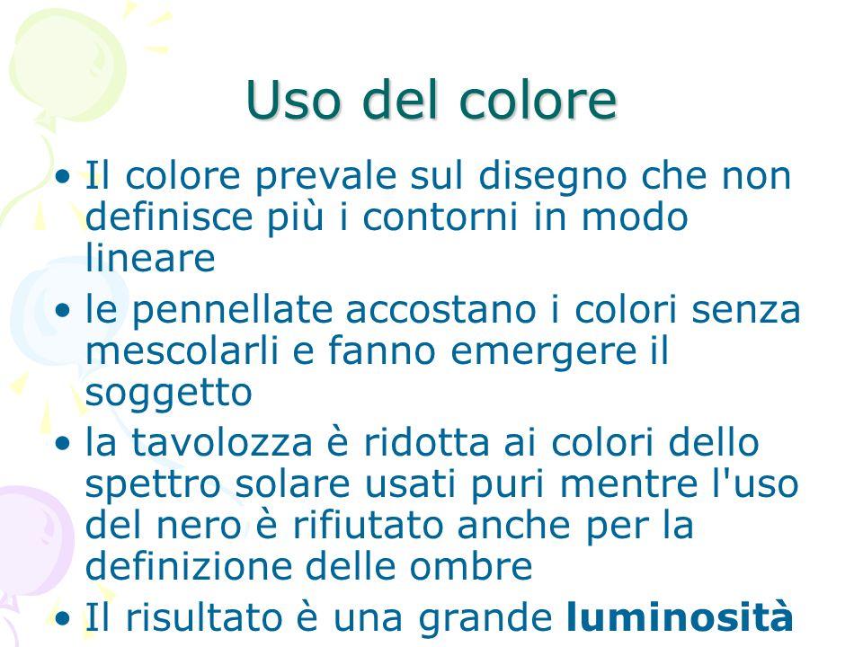 Uso del coloreIl colore prevale sul disegno che non definisce più i contorni in modo lineare.