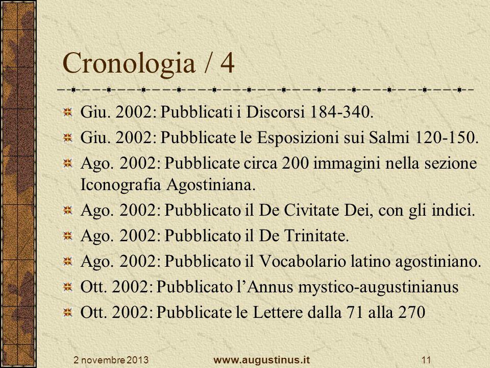 Cronologia / 4 Giu. 2002: Pubblicati i Discorsi 184-340.
