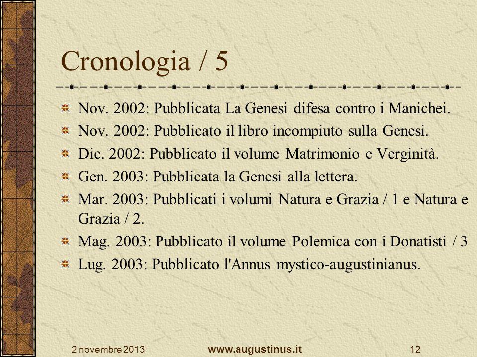 Cronologia / 5 Nov. 2002: Pubblicata La Genesi difesa contro i Manichei. Nov. 2002: Pubblicato il libro incompiuto sulla Genesi.