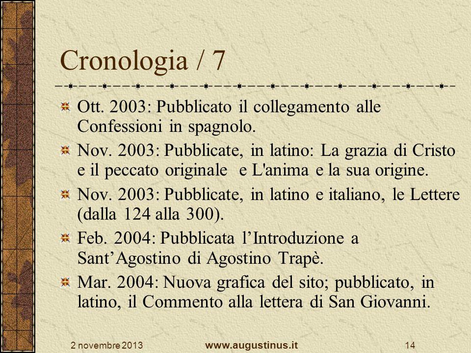 Cronologia / 7 Ott. 2003: Pubblicato il collegamento alle Confessioni in spagnolo.
