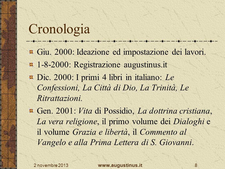 Cronologia Giu. 2000: Ideazione ed impostazione dei lavori.