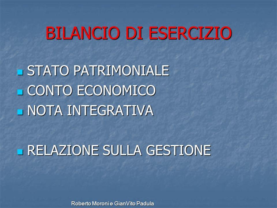 BILANCIO DI ESERCIZIO STATO PATRIMONIALE CONTO ECONOMICO
