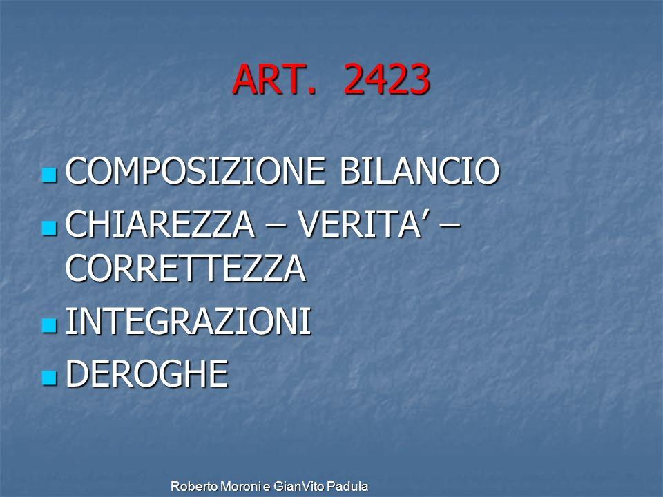 ART. 2423 COMPOSIZIONE BILANCIO CHIAREZZA – VERITA' – CORRETTEZZA