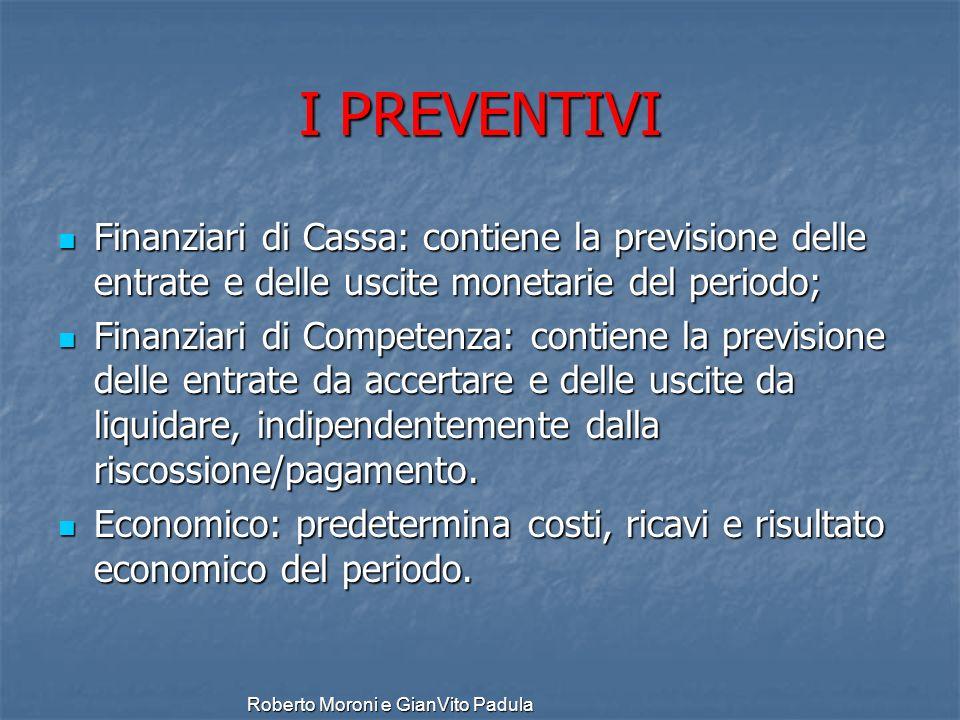 I PREVENTIVI Finanziari di Cassa: contiene la previsione delle entrate e delle uscite monetarie del periodo;