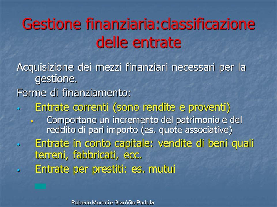 Gestione finanziaria:classificazione delle entrate
