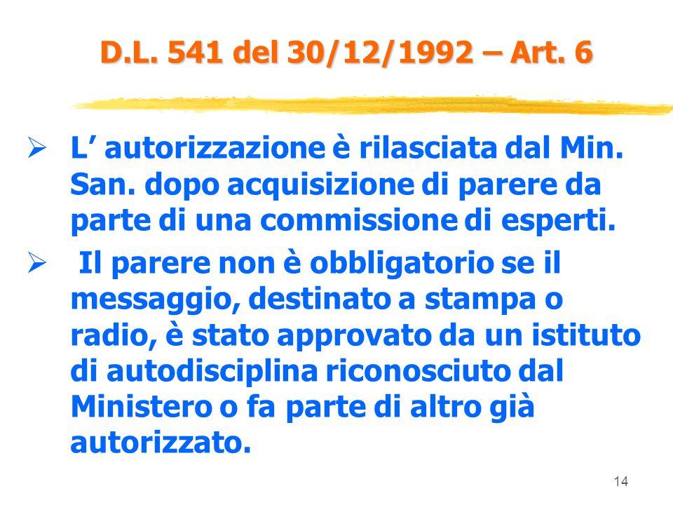 D.L. 541 del 30/12/1992 – Art. 6 L' autorizzazione è rilasciata dal Min. San. dopo acquisizione di parere da parte di una commissione di esperti.