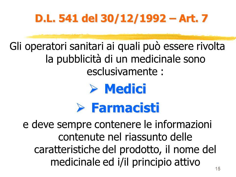 Medici Farmacisti D.L. 541 del 30/12/1992 – Art. 7