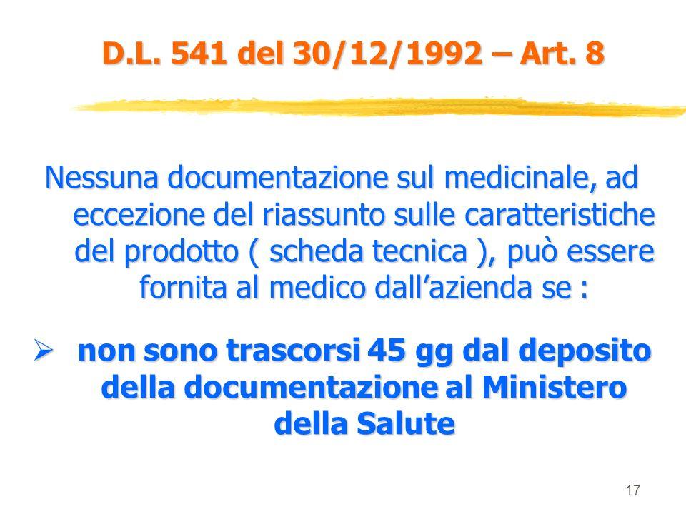 D.L. 541 del 30/12/1992 – Art. 8