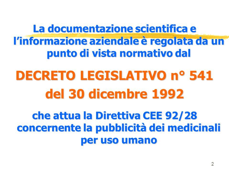 DECRETO LEGISLATIVO n° 541
