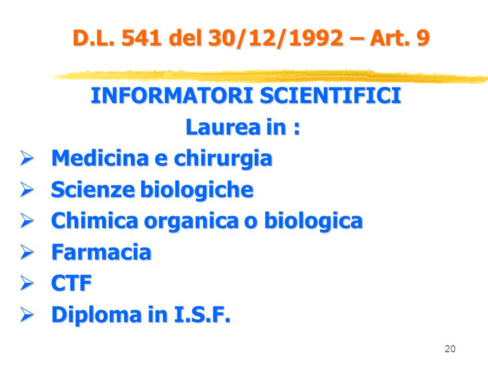 INFORMATORI SCIENTIFICI