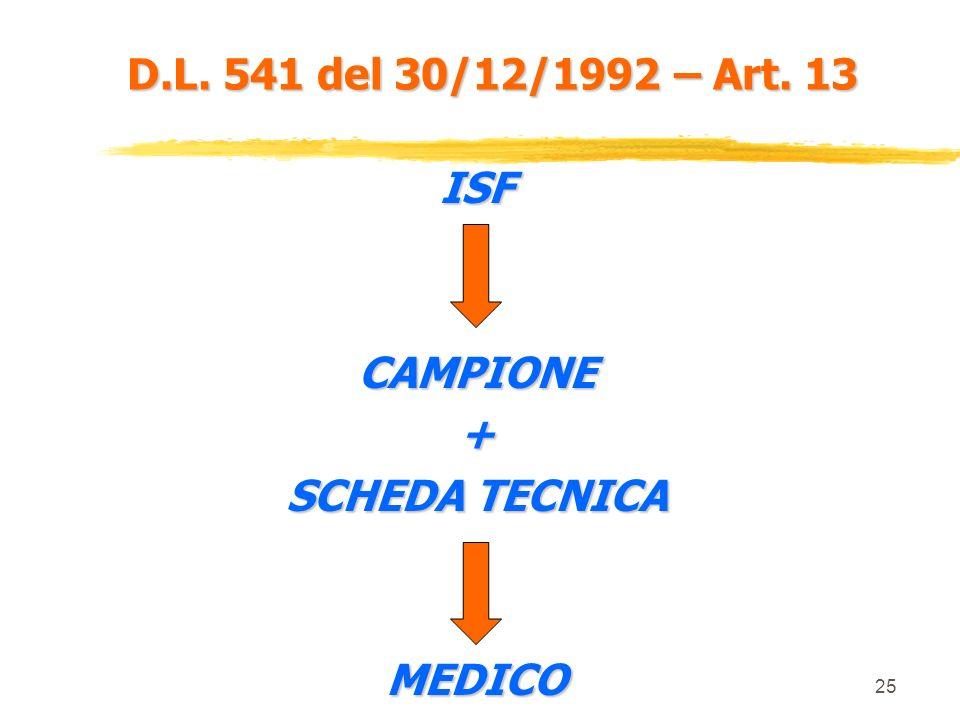 D.L. 541 del 30/12/1992 – Art. 13 ISF CAMPIONE + SCHEDA TECNICA MEDICO