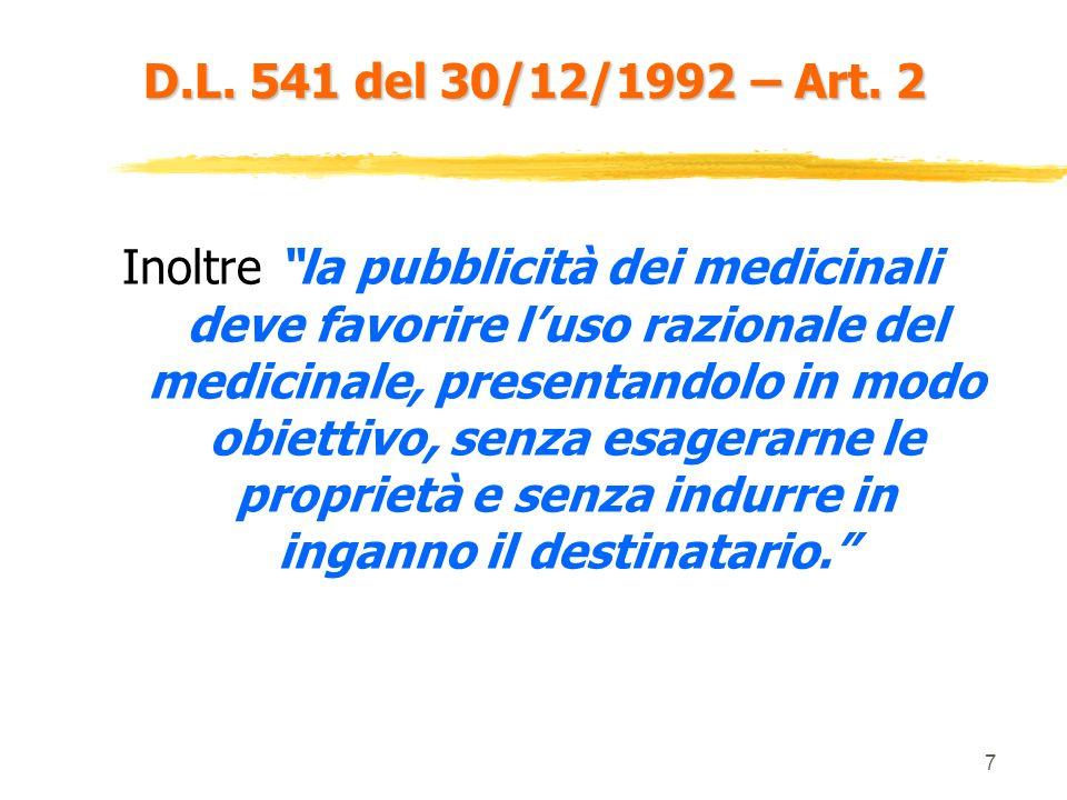 D.L. 541 del 30/12/1992 – Art. 2
