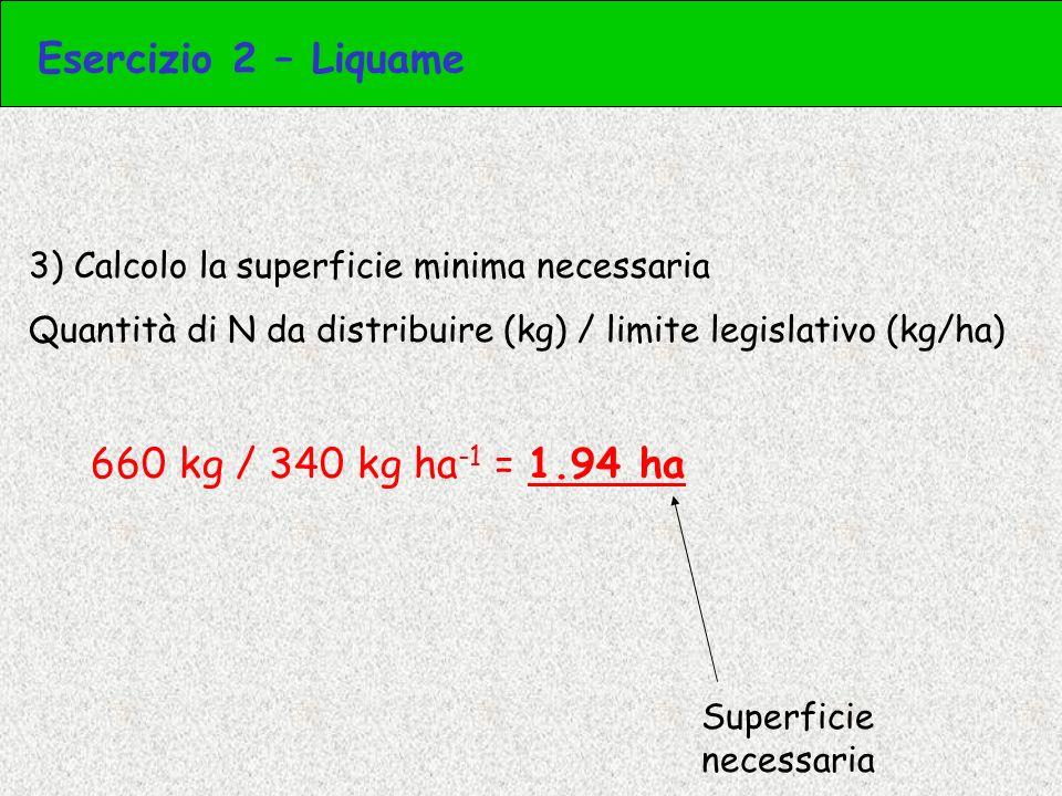 Esercizio 2 – Liquame 660 kg / 340 kg ha-1 = 1.94 ha