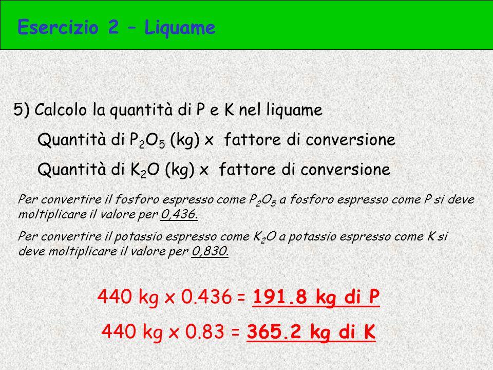 Esercizio 2 – Liquame 440 kg x 0.436 = 191.8 kg di P