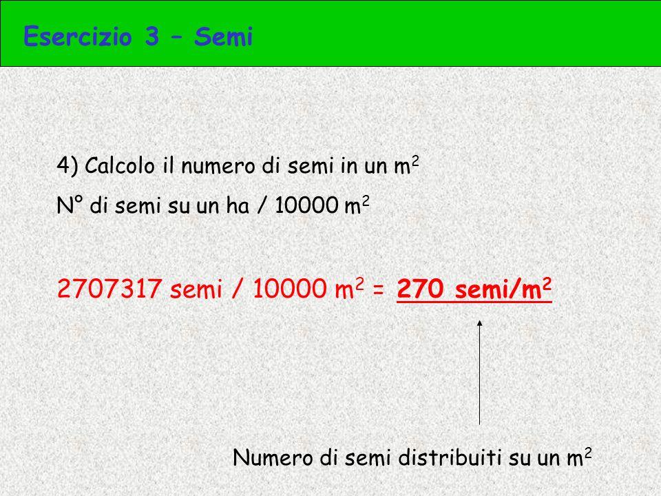 Esercizio 3 – Semi 2707317 semi / 10000 m2 = 270 semi/m2