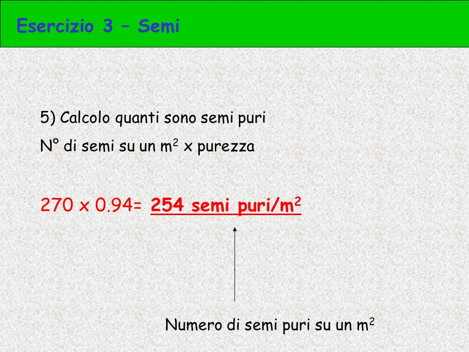 Esercizio 3 – Semi 270 x 0.94= 254 semi puri/m2