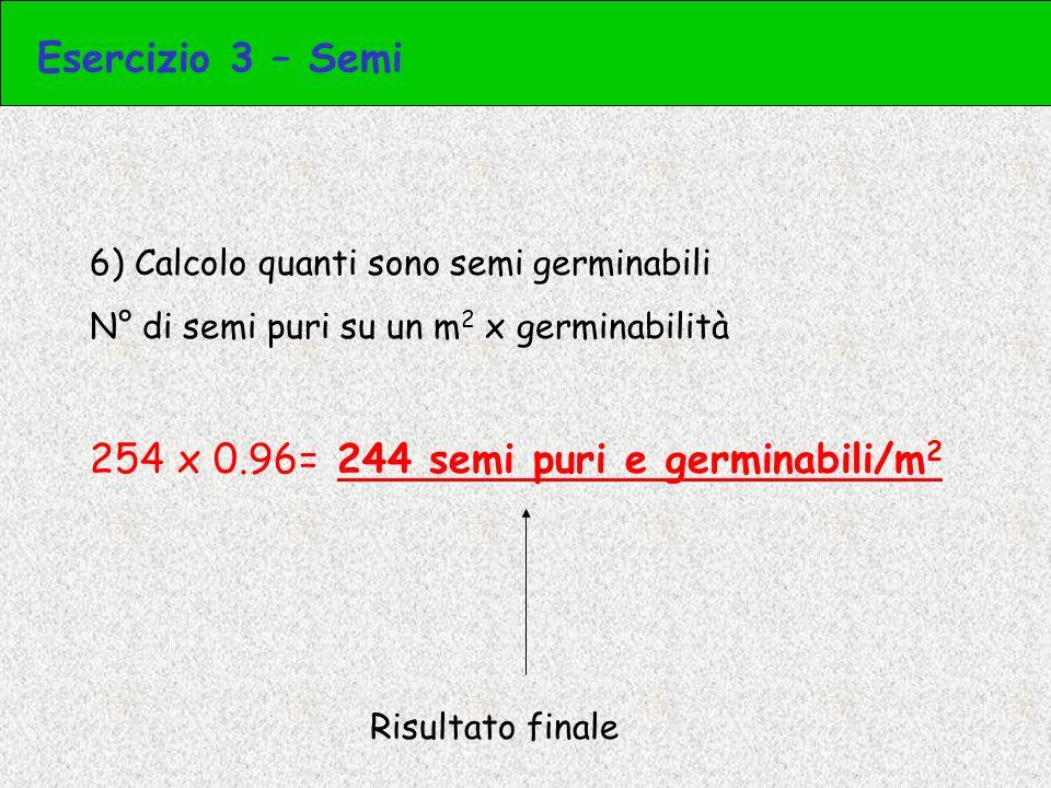 254 x 0.96= 244 semi puri e germinabili/m2