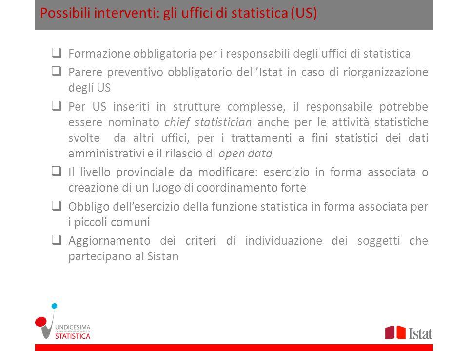Possibili interventi: gli uffici di statistica (US)
