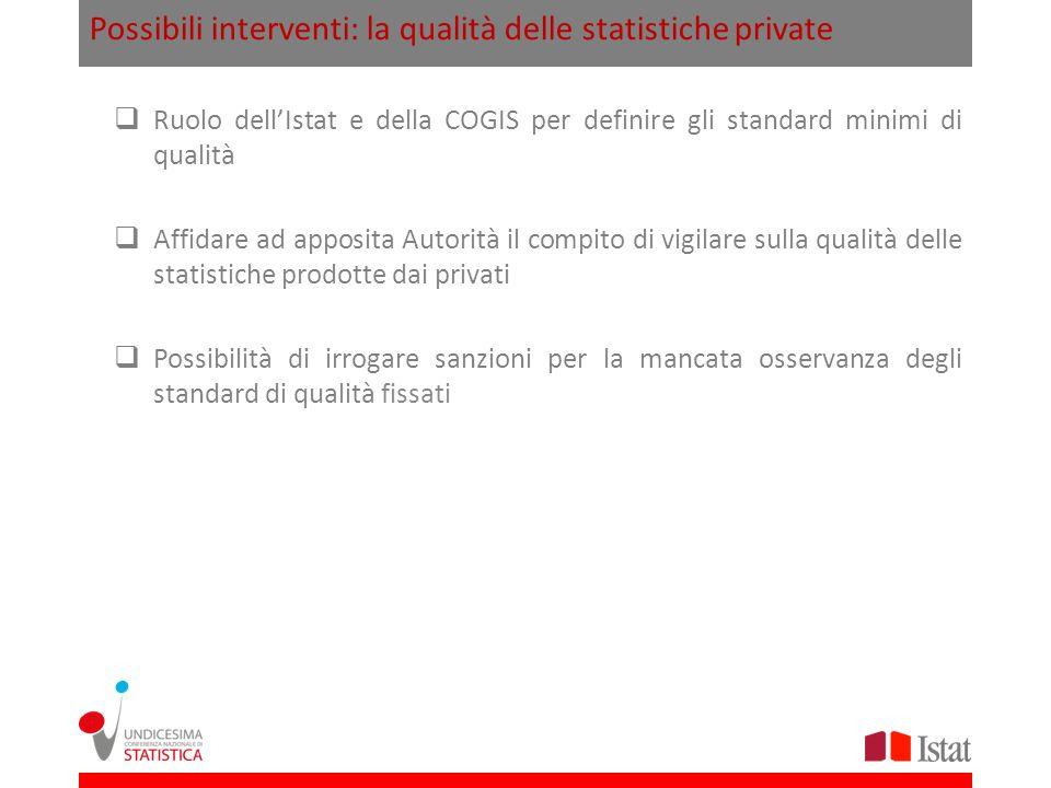 Possibili interventi: la qualità delle statistiche private