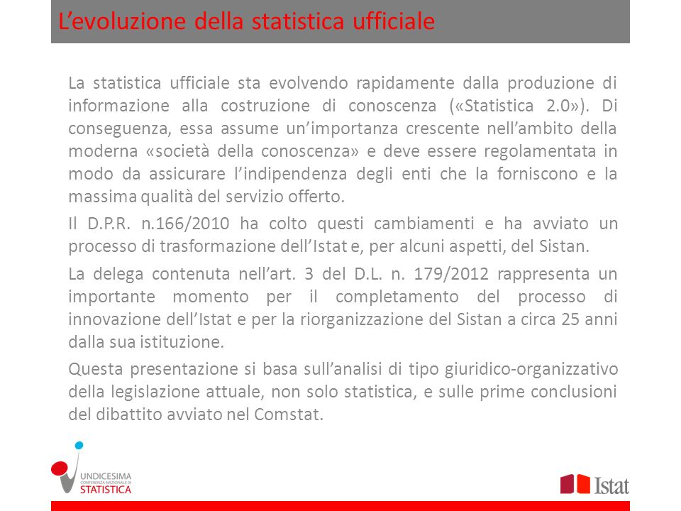 L'evoluzione della statistica ufficiale