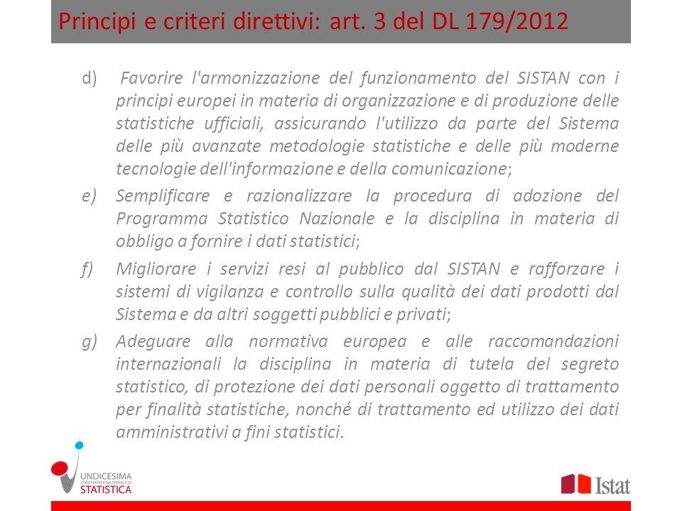 Principi e criteri direttivi: art. 3 del DL 179/2012