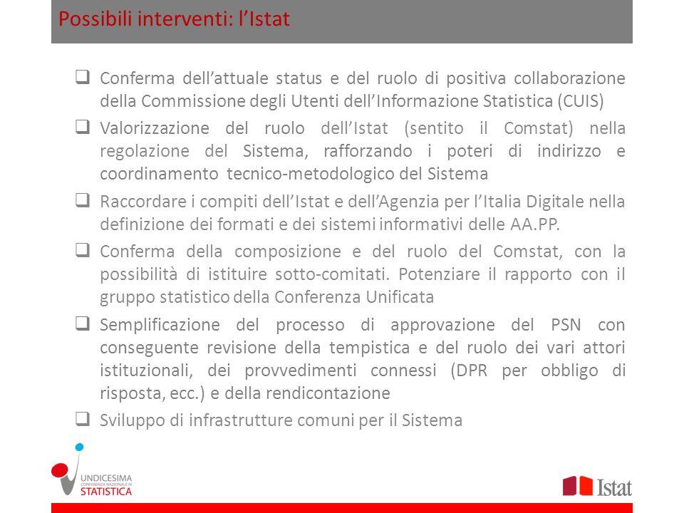 Possibili interventi: l'Istat